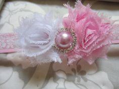 Baby headband ~ Newborn headband ~ Pink and white ~ Sparkly ~ Gemstone ~ Pearl ~ Baby headbands ~ Photo prop ~ Newborn headbands
