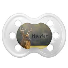 Personalized Babies Animal Whitetail Buck Baby Pacifiers This cute baby pacifier features animal nature photography from the Great Smoky Mountains National Park. Great for the baby - infant of a hunter, hunting guide, outdoors man or woman, sportsman or animal lover.