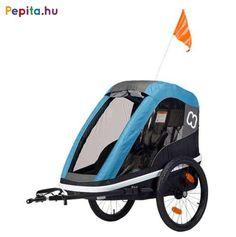 """Az erős és sokoldalú kerékpár utánfutó, amely babakocsivá alakítható, könnyű elülső nyitás szíjjal és akasztó horoggal. Ideális választás egy gyermek szállítása esetén!    Jellemzői:  - Mosható üléspárna  - Tágas tároló rész  - Extra hosszú árnyékoló  - Állítható 5 pontos biztonsági öv  - Rögzítő fék  - Első és hátsó reflektorok  - Fényvisszaverő csíkok  - Ergonomikus, állítható fogantyú  - Kompakt, egyszerűen összecsukható  - Összehajtható kerékvédők  - Gyorskioldású 20 """"-os kerekek  - Jó… Bmx, 2 Kind, Buggy, Baby Car Seats, Baby Strollers, Twins, Children, Products, Bike Parts"""