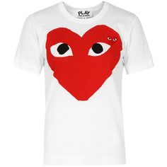 Comme Des Garcons Play T025 White Red Heart T-Shirt ($115) ❤ liked on Polyvore