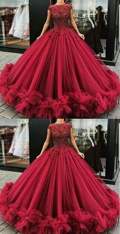 elegant burgundy prom dresses, cap sleeves birthday prom dresses