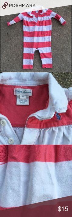 Ralph Lauren one piece sz: 9 mos. Worn a handful of times and in excellent pre loved condition baby girls one piece pants outfit by RL Polo sz: 9 mos. 💖 Ralph Lauren One Pieces