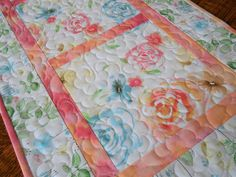 Quilted Floral Table Runner in Watercolor Pastel Shades of Pink Blue Yellow and Green, Quilted Flower Table Topper, Quilted Tablecloth by SusiQuilts on Etsy