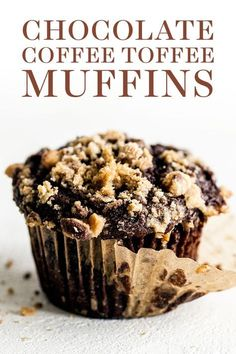Chocolate Coffee Toffee Crunch Muffins feature a moist mocha muffin base that's . Kuchen , Chocolate Coffee Toffee Crunch Muffins feature a moist mocha muffin base that's . Chocolate Coffee Toffee Crunch Muffins feature a moist mocha muffi. Cupcake Recipes, Baking Recipes, Cupcake Cakes, Dessert Recipes, Muffin Cupcake, Brownie Cupcakes, Stud Muffin, Baking Ideas, Coffee Muffins