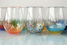 Looking to add a little color to your glassware collection? Or perhaps just want to give some of those acrylic party glasses a creative upgrade? Each of these glasses took 5 minutes or less – all you need is a few paint pens and a good playlist! :)    omgggg must dooooo