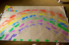 Noah's Ark footprint rainbow - God keeps His promises (thanks to Messy Church - The Temple, Penygroes)