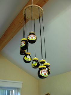 The Marmite Jar Chandelier a great way to up-cycle old jars add some LEDs an Homemade Chandelier, Jar Chandelier, Black Chandelier, Earth Sheltered Homes, Wrought Iron Chandeliers, Progress Lighting, Exposed Beams, Home Lighting, Wind Chimes