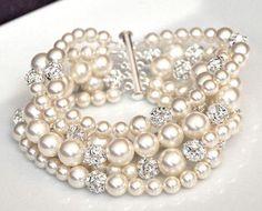 pulsera perlas strass