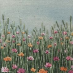 Flower Meadow hand embroidery on painted background by Jo Butcher