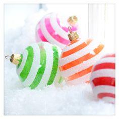 Snowy Fluff Ornament.  Glitterville Vintage Style Czech Glass Christmas Ornaments.