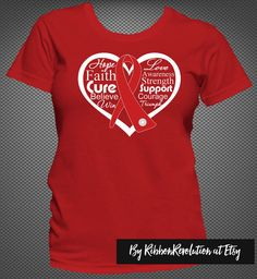 Red Awareness Heart Ribbon Shirts For Heart Disease, Stroke, Vasculitis and More