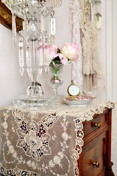 Boudoir - lacy dresser scarf, crystals, roses