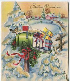 VINTAGE CHRISTMAS SPARROW SNOW EVERGREEN TREES PINK HOUSE MAIL BOX CHURCH CARD   eBay