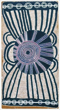 """In 1971, a teacher named Geoffrey Bardon, working with indigenous Australians, provided a group of elderly and middle-aged men with acrylic paints and pieces of Masonite and suggested that they make paintings based on their own aesthetic and spiritual traditions. """"The Trial,"""" 1972, by Charlie Tarawa (Tjaruru) Tjungurrayi"""