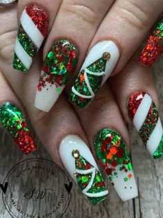 The Cutest and Festive Christmas Nail Designs for Celebration Amazing Red & Green Glitter Christmas Nails! The post The Cutest and Festive Christmas Nail Designs for Celebration appeared first on Halloween Nails. Chistmas Nails, Xmas Nail Art, Cute Christmas Nails, Xmas Nails, Holiday Nails, Halloween Nails, Christmas Tree, Christmas Acrylic Nails, Green Christmas