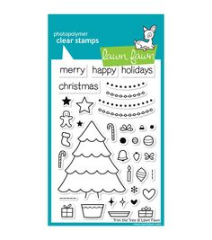 """Lawn Fawn Clear Stamps 4""""X6""""-Trim The Tree"""