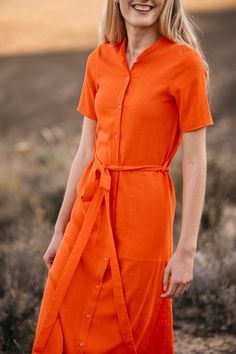 About Clothing - Orange Jan  Shirt Dress. Our Rayon Linen Shirtdress with manderin collar. Shirtdress, Mandarin Collar, Dress Making, Wrap Dress, Orange, Clothing, Fabric, Sleeves, Shirts
