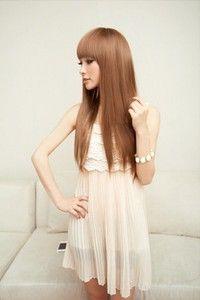 Sexy moda coreano Estilo Mulheres Meninas reta longa peruca de cabelo completa com estrondo puro Cosplay Partido fantasia vestir-se sustentar marrom elegante