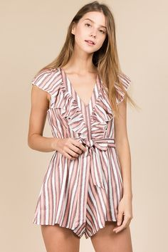 4c8b85f6aa7b Look sweeter than candy in this pink and white peppermint romper! Features  a striped design