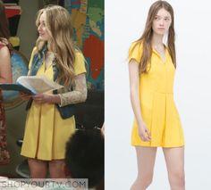 Girl Meets World: Season 2 Episode 24 Maya's Yellow Zip up Pleated Romper