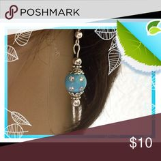 🌺🌴🌺 TURQUOISE DANGLE EARRINGS 🌺🌴🌺 🌺🌴🌺 These original handcrafted turquoise earrings are one of a kind.  They have decorative silver caps and glossy beads on top and the bottom.  The center beads has clear crystal rhinestones strategically placed to create more focus. 🌺🌴🌺 Fashion Flair Jewelry Earrings