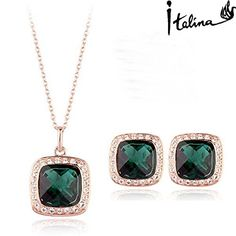 925 Silver Store Spring Elegant Emerald Jewelry Set With Austrian Crystal Stellux NecklaceEarrings Utopia Jewelry RG376 mexican silver jewelry *** You can get more details by clicking on the image.