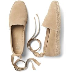 Gap Women Suede Lace Up Espadrilles ($34) ❤ liked on Polyvore featuring shoes, sandals, flats, suede leather shoes, lace up sandals, tie espadrilles, lace up espadrilles and round toe shoes