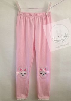 bf8195b2346ed5 Items similar to Bunny rabbit knee patch leggings baby leggings - pink on  Etsy