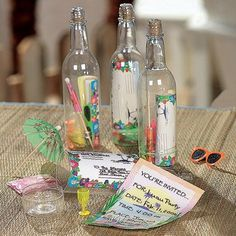 Luau Message In A Bottle Tropical Invitations