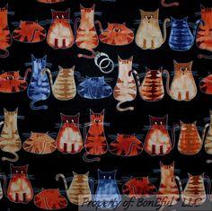 BonEful Fabric FQ Cotton Quilt Black Brown Gray Kitty CAT Lg Tiger Stripe Calico #HiFashion