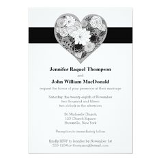 Wedding | Black and White | Floral | Heart 5x7 Paper Invitation Card Black And White Wedding Invitations, Wedding Invitation Design, Wedding Black, Invitation Paper, Custom Invitations, Invites, Bronxville New York, Michael Church, Wedding Themes