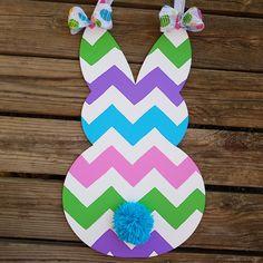 Easter Bunny Shape Chevron Pink Blue Green Purple Chevron Door Hanger Easter Holiday Yarn Fluffy Tail by DesignsByMonee on Etsy
