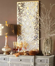 Mirrored Damask Panel - Champagne - Home Decor Wall Art Ideas
