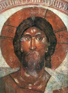 Russian art / Theophanes the Greek / Christ Pantocrator. Fresco in the center of the cupola of Spas na Ilyine Church (The Church of Transfiguration of Christ) in Novgorod. Byzantine Icons, Byzantine Art, Russian Icons, Russian Art, Religious Icons, Religious Art, Tempera, Fresco, Christ Pantocrator