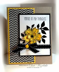 Stamps Petite Petals Flower Shop Paper Crumb Cake Daffodil Delight Basic Black and Very Vanilla DSP Ink Memento Black Accessories striped ribbon jumbo brad Tools framelit. Making Greeting Cards, Greeting Cards Handmade, Cute Cards, Diy Cards, Stamping Up Cards, Get Well Cards, Grafik Design, Sympathy Cards, Paper Cards