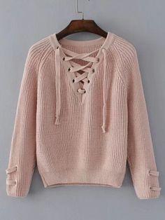 19cdeff5a1 Shop Lace Up V Neckline Raglan Sleeve Sweater online. SheIn offers Lace Up  V Neckline