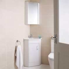 Design corner cloakroom vanity unit and mirror cabinet