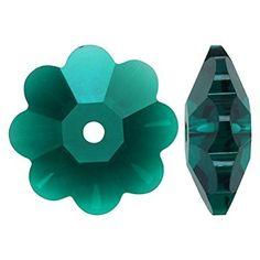 SWAROVSKI ELEMENTS Crystal Margarita Beads #3700 14mm Emerald (4)