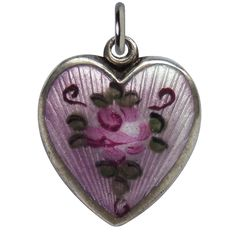 Walter Lampl Sterling and Enamel Heart Charm with Rose on Lilac Background