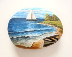 Landscape Rock Painting with Boat on the Beach by RockArtAttack