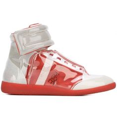 Maison Margiela 'Future' hi-top sneakers (3.440 BRL) ❤ liked on Polyvore featuring men's fashion, men's shoes, men's sneakers, red, mens high top sneakers, mens leather shoes, mens velcro shoes, mens red leather shoes and maison margiela mens shoes
