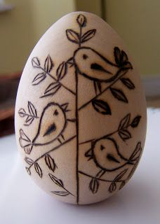 BUG A BOO CORNER: Crafts. Wooden egg, wood burn. Bird motif.