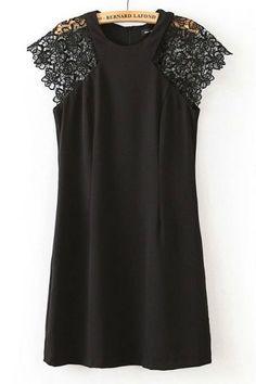 Lace Shoulder Sleeveless Dress - OASAP.com
