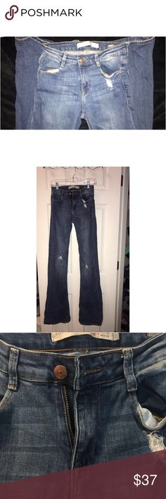 FLASH SALE🎁ZARA distressed flare jeans I love these jeans! Worn once bc they were just too long for me ..Zara Premium Wash super flare ..28 waist 36in inseam ..excellent condition Zara Jeans Flare & Wide Leg