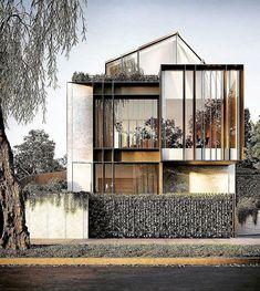 new minimalist architecture New Modern House, Modern House Plans, Modern Architecture House, Facade Architecture, Minimalist Architecture, Small House Design, Modern House Design, Facade Design, Exterior Design