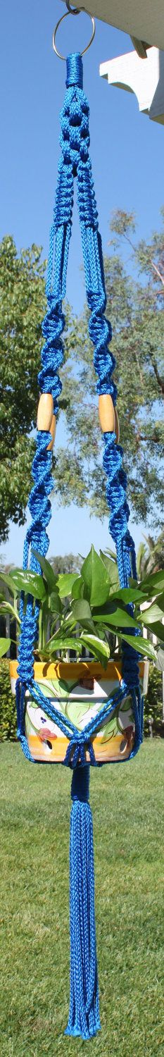 Handmade Macrame Plant Hanger Holder Royal Blue with Wood Beads - CROWNE ROYALE - 6mm Braided Poly Cord. $18.00, via Etsy.