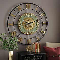 $104  44 inches Kate Gold and Green Metal Clock