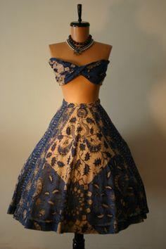 Ceil Chapman RARE Skirt Scarf Bandeau 1950s