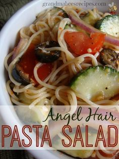 Angel Hair Pasta Salad - Quick to make & a great side dish for a pot luck!