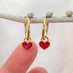 Heart Earrings, Hoop Earrings, Ear Jewelry, Jewellery, Minimal Fashion, Minimal Style, Small Heart, Heart Charm, Pretty Little